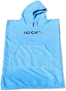 COR Childrens Poncho Towel Robe Light and Dark Blue for Ages 3-10 (Light Blue)