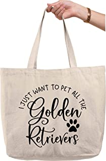 I just want to pet all the golden retrievers funny paw print dogs Natural Canvas Tote Bag funny gift