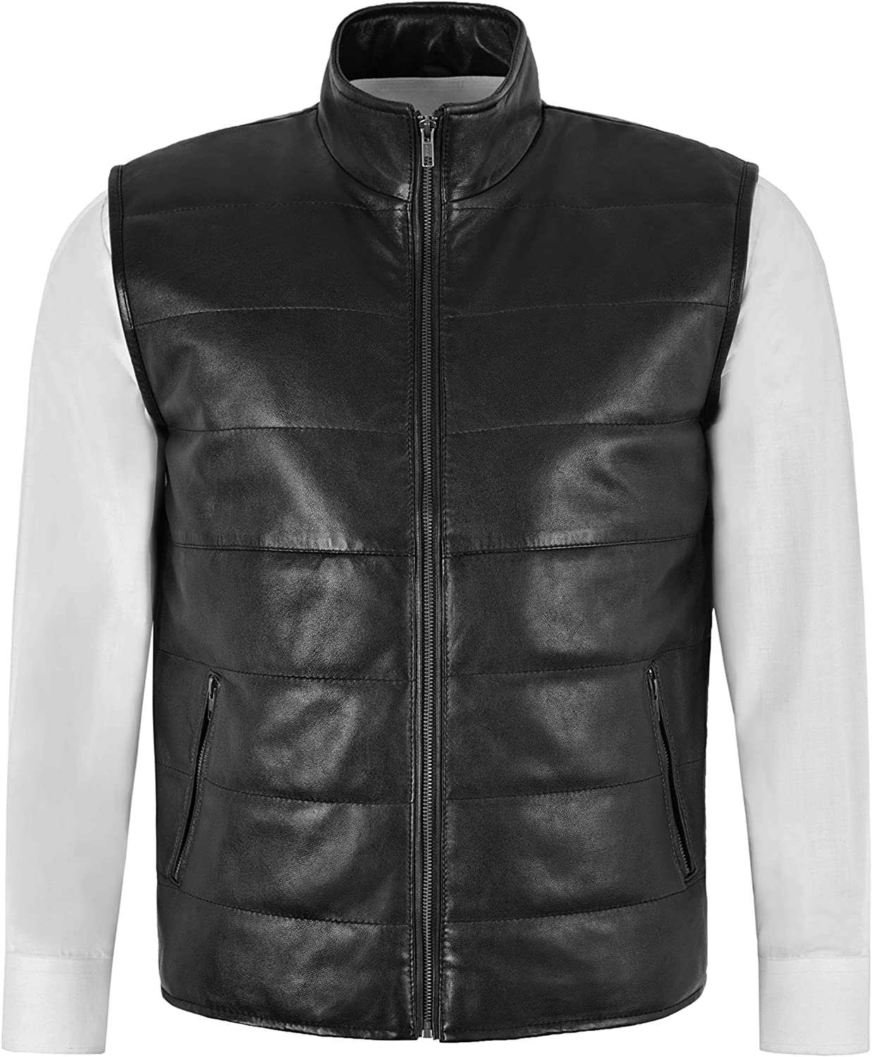 Men's Quilted Leather Waistcoat Black Real Nappa Leather Fashion Gilet Vest 1799