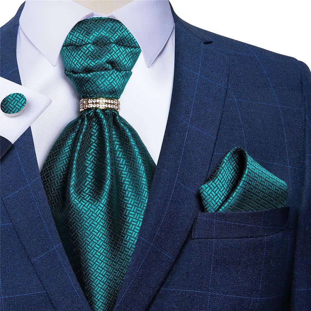 UXZDX Men Vintage Teal Blue Wedding Formal Cravat British Style Gentleman Silk Neck Tie Hanky Ring Set (Color : Teal Blue, Size : One Size)