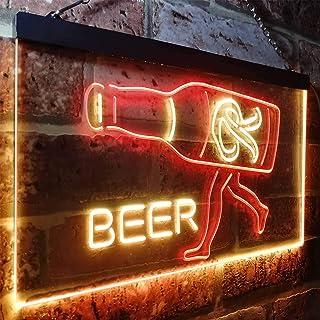 Zusme Rainier Beer Garage Man - Cave de barra, LED neón exterior, color rojo y amarillo (30 x 20 cm)