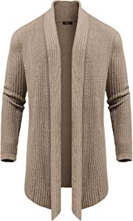 Men's Cardigan Sweater Long Knit Jacket Solid Cotton Shawl Collar Coat