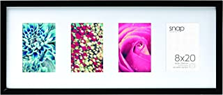 Snap 8x20 Black Wood Frame with White Mat Opening for Four 3.5x5 Images