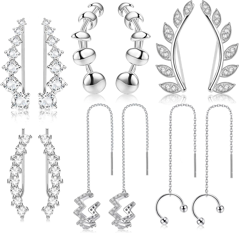 HANPABUM 6pairs Ear Cuffs Earrings Hoop Climber Crawler Earrings Wave Long Tassel Chain Dangle Drop Threader Earrings Wrap Cartilage Piercing Earrings Set