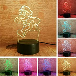 TwClutch 2019 Cartoon Super Running Mario Bros Action Figure Toy 7 Colors Changing Decor LED USB 3D Touch Night Light Home Party Gifts Gifts (Mario) Xmas Birthday