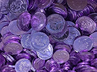 RiverFinn Solid Gourmet Milk Chocolate Large Gold Coins - Green Gold Silver and Pink / Purple - 2 Full Pounds Bulk Wholesale (Light Purple)