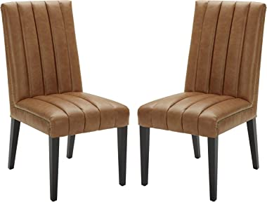 """Amazon Brand – Stone & Beam Channel-Back Leather Dining Chairs, 40""""H, Cognac, Set of 2"""