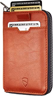 Vaultskin NOTTING HILL Slim Zip Wallet with RFID Protection for Cards Cash Coins (Cognac)