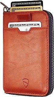 Vaultskin - Portafoglio con Cerniera NOTTING HILL con Protezione da RFID, Ultra Sottile, per Carte e Banconote (Cognac)