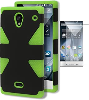 Aquos Crystal Case, Bastex Heavy Duty Hybrid Dynamic Protective Case - Soft Neon Green Silicone Cover with Black Hard Shell Case for Sharp Aquos Crystal 306SHINCLUDES SCREEN PROTECTOR