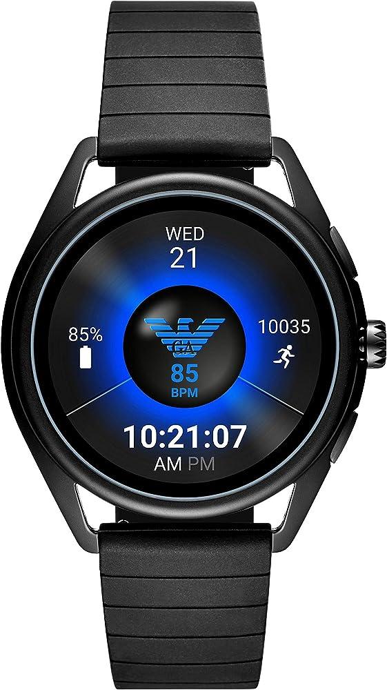 Emporio armani,  smartwatch per uomo , digitale , android os 4.4+, in alluminio e silicone ART5017