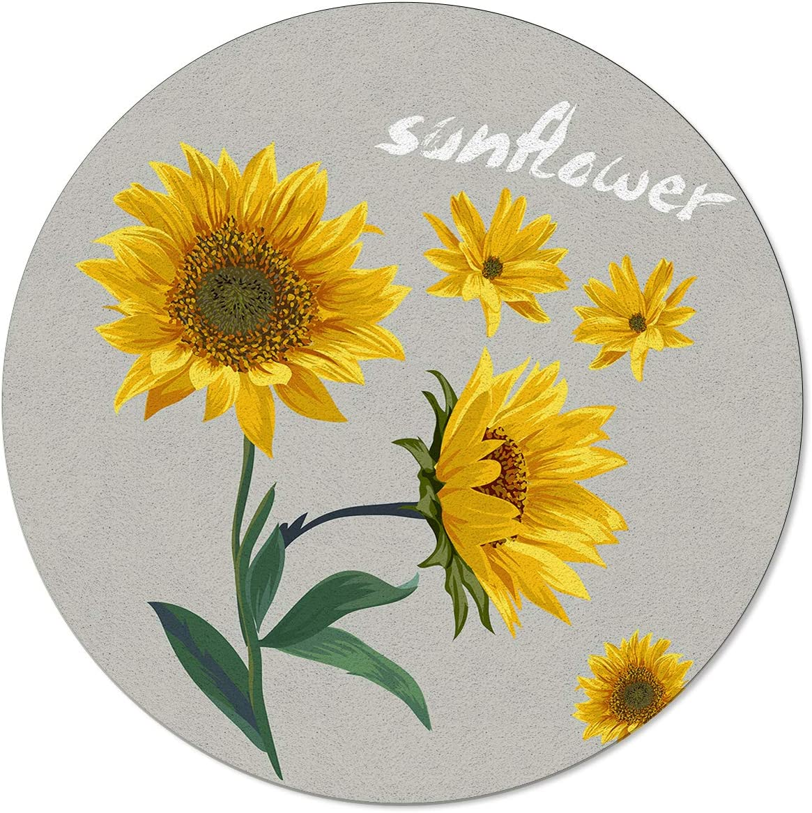 OneHoney Sales NEW for sale Retro Spring Blossoms Sunflower on Grey Rugs Round Area