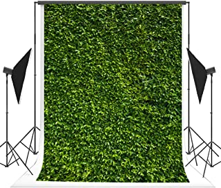 5(w)x7(h)ft Nature Green Leaves Backdrops, Cotton Microfiber Photography Birthday Green Lawn Background for Wedding, Birthday Party, Newborn Photo Props