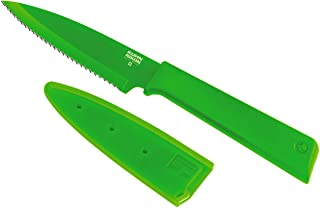 Kuhn Rikon 26622 Colori+ Non-Stick Serrated Paring Knife, Green, Stainless Steel