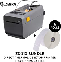 $345 » Zebra - ZD410 Direct Thermal Printer Plus 2.25 X 1.25 in Z-Perform 2000D Thermal Labels - Print Width of 2 in - USB and Bluetooth Low Energy Connectivity - 1 in Core Labels - 6 Rolls