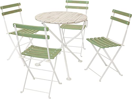 lowest Sunnydaze Classic Cafe Chestnut Wooden Folding Bistro Table and outlet online sale Chairs - 5-Piece Set - Indoor or Outdoor wholesale Use - European Style - Antique Green outlet sale