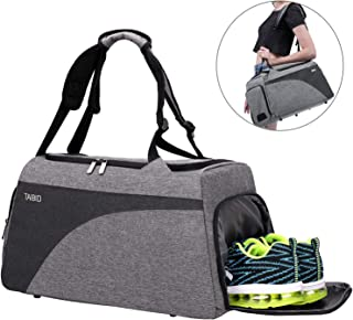 TAIBID Water Resistant Sports Gym Travel Weekender Duffel Bag with Shoe Compartment Double Shoulder Straps and Wet Pocket ...