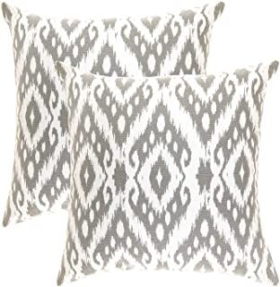TreeWool, Pack of 2, Throw Pillow Cover Ogee Diamond Accent 100% Cotton Decorative Square Cushion Cases (18 x 18 Inches / 45 x 45 cm; Sleet Grey & Off-White)