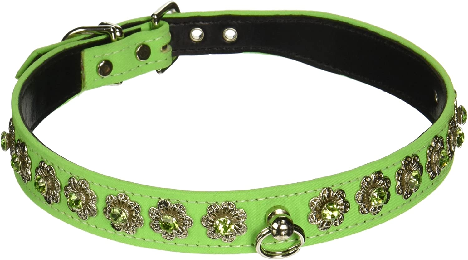 Evans Collars 3 4  Shaped Collar with Starlight Pattern, Size 20, Solid Cotton, Neon Green