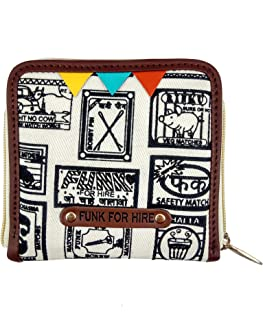 Funk For Hire Women Printed Off-White Cotton Canvas Square wallet