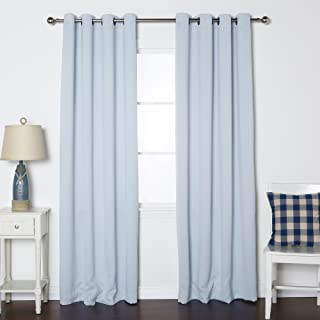Best Home Fashion Premium Thermal Insulated Blackout Curtains - Antique Bronze Grommet Top - Sky Blue - 52