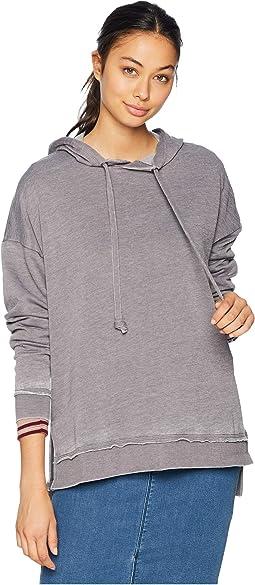 Drop Shoulder Long Sleeve Pullover Hoodie w/ Step Up High-Low & Side Slit