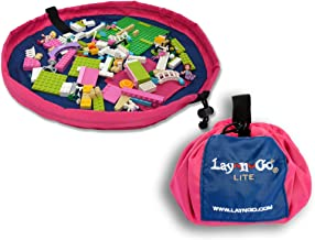 "Lay-n-Go Small Building Block Toy Storage Mat – Pink/Blue, 18"" - Drawstring Makes Easy, Quick Pick Up of Building Blocks, ..."