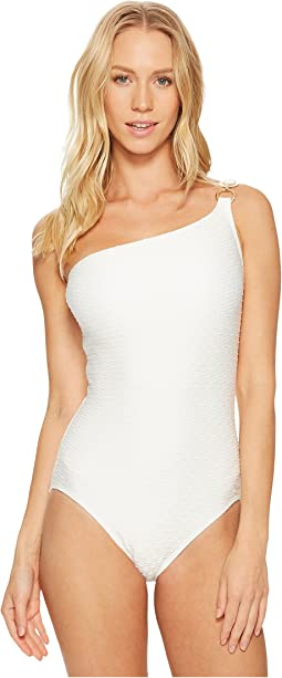 Sea Side Texture One Shoulder One-Piece Swimsuit w/ Ring Chain Trim & Removable Soft Cups