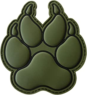 LEGEEON Olive Drab OD K-9 Paw K9 Handler Dogs of War Morale Army Gear PVC Touch Fastener Patch