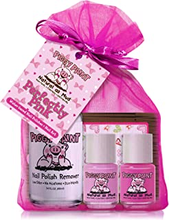 Piggy Paint - 100% Non-toxic Girls Nail Polish, Safe, Chemical Free, Low Odor for Kids - 2 Polish Gift and 1 Remover Set (Perfectly Pink)