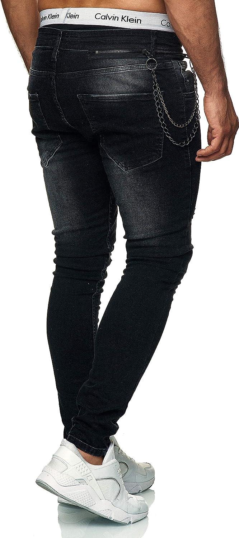 Designer Herren Jeans Hose Slim Skinny Fit Stretch Röhrenjeans Blau Schwarz IGIM