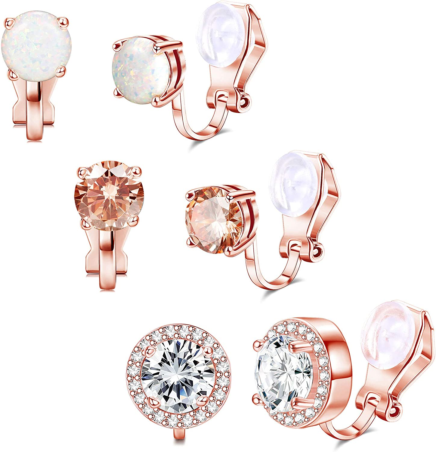 Thunaraz 3 Pairs Clip on Earrings Set for Women Cubic Zirconia Halo Round Non Pierced Clip Earring Jewelry