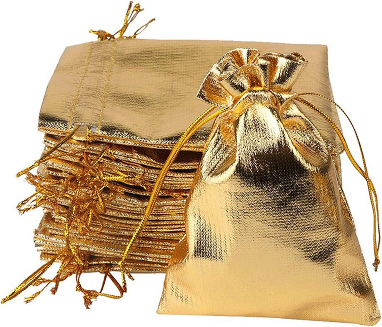YUKUNTANG 100 Pcs Gold Drawstring Organza Bags Party Wedding Fav
