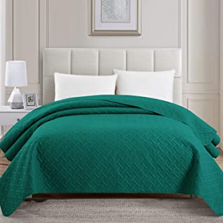 PU MEI Bed Quilt Bedspread and Coverlet,Embossed Lightweight Comforter,Twin Size,Teal