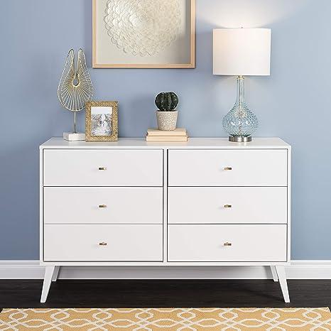 Prepac Milo Mid Century Modern Dresser, 6-Drawer, White