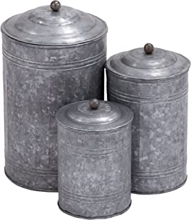Deco 79 38168 Rustic Metal Farmhouse Galvanized Canisters, Set of 3 Iron Canisters, 7, 9, and 11 Inch (H)
