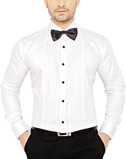 Global Rang Men's Cotton Tuxedo Shirt with Bow