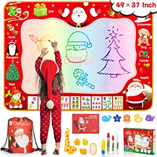lenbest Water Drawing Mat, Christmas Magic Drawing Mat Extra Large 49×37 Inch with Christmas Bunch Bag & Gift Box Water Doodle Mat with Giraffe Roller for Boy Girl Age 2+ Years Old Educational Toys