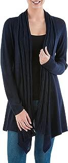 NOVICA Blue 10% Alpaca Wool Long Sleeves Cardigan Sweater, Waterfall Dream'