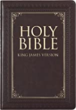 KJV Holy Bible, Thinline Large Print, Dark Brown Faux Leather w/Thumb Index and Ribbon Marker, Red Letter, King James Version