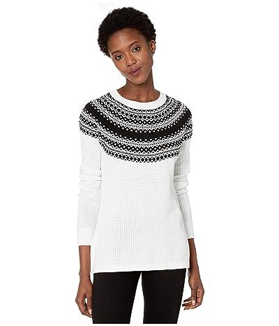 Calvin Klein Fair Isle Crew Neck Sweater (Winter White/Black) Women