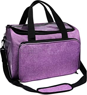 Jolitac Knitting Bag Yarn Storage High Capacity Organizer Tote, with Cover and Roomy Inner Divider for Projects Crochet Hooks, Knitting Needles Bags (Purple)