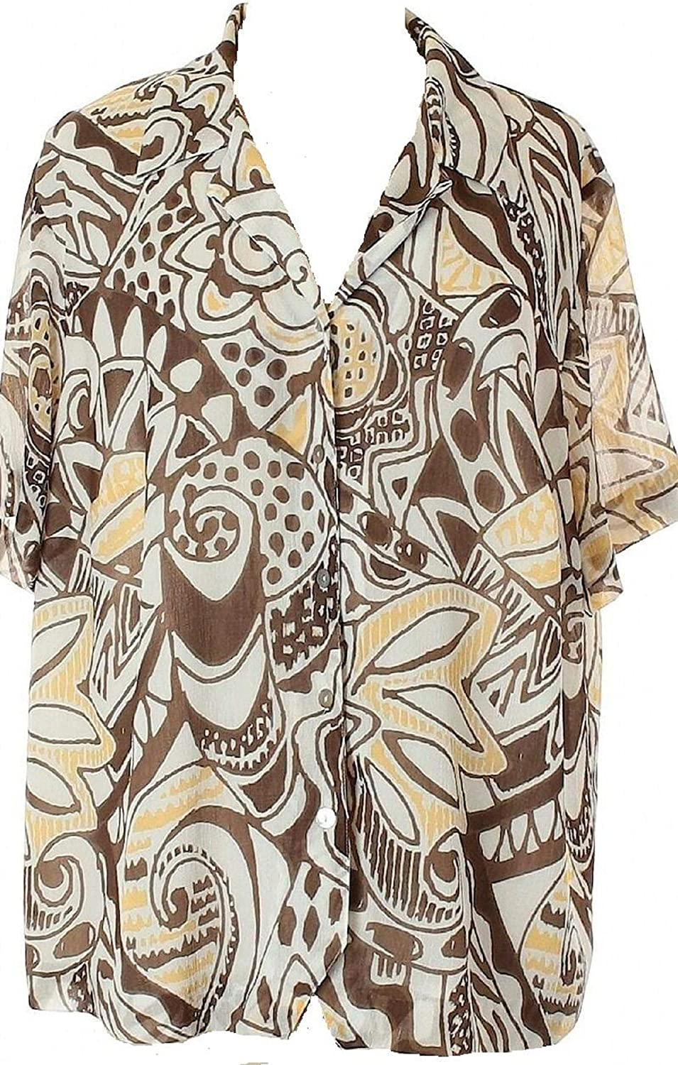 Alfred Dunner New Petite Tradewinds Abstract Print Button Down Blouse Color: White Brown Yellow Size: 12P 12 Petite