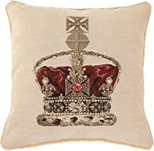 Signare Tapestry Double Sided Square Throw Pillow Cover 18 x 18/ 45cm x 45cm (No Padding) in Crown Design Beige