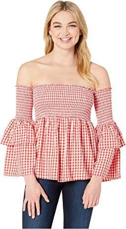 Smock & Roll Gingham Blouse