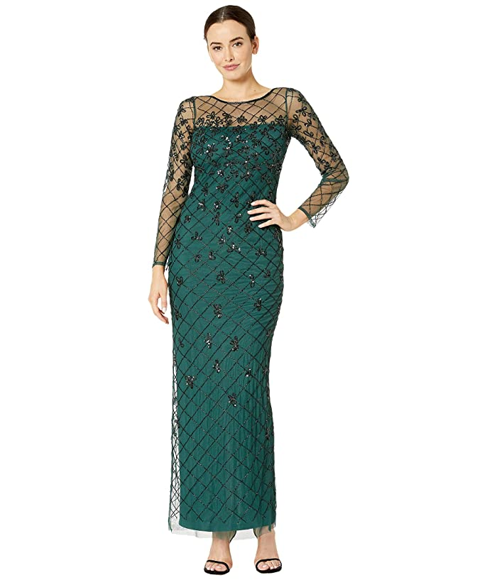Vintage 1920s Dresses – Where to Buy Adrianna Papell Beaded Long Column Gown Dusty Emerald Womens Dress $249.00 AT vintagedancer.com