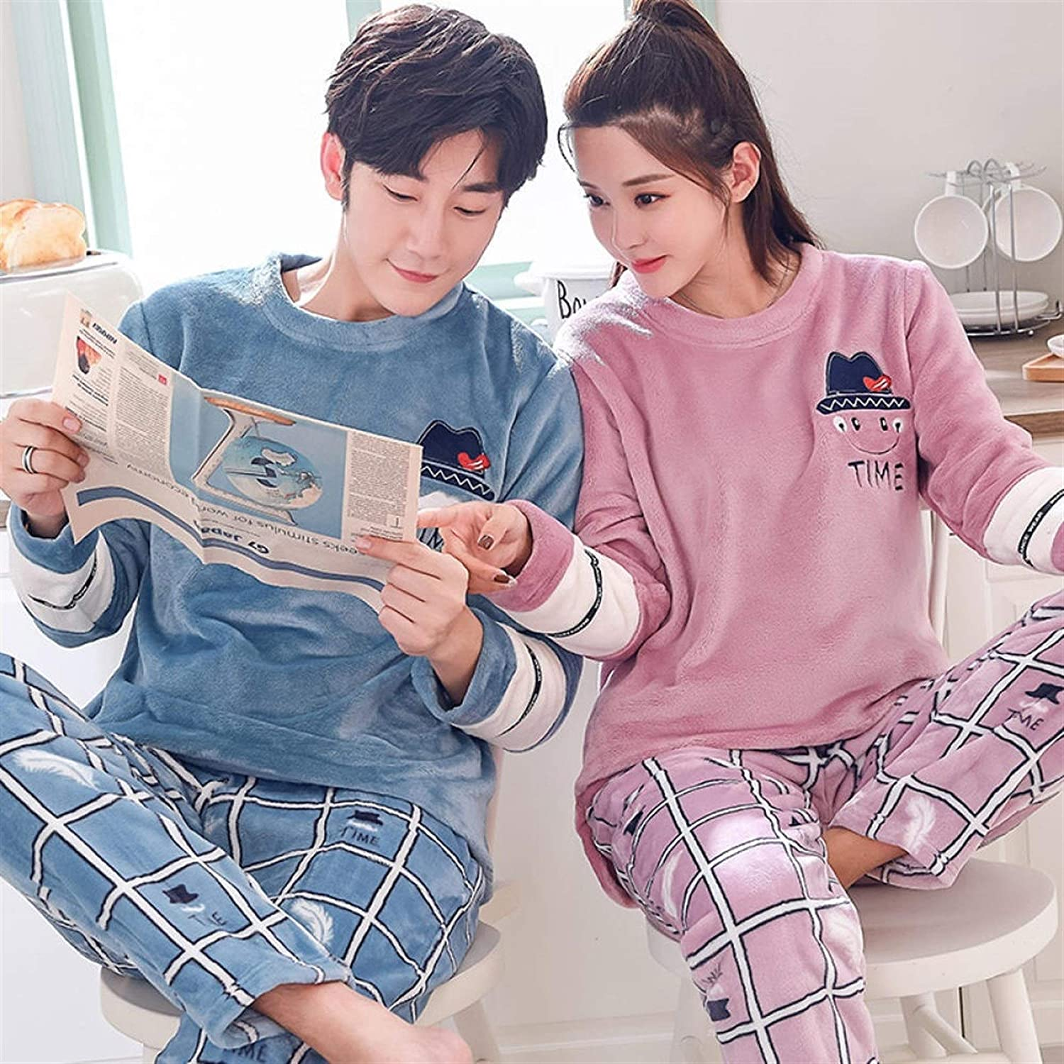 New Max 41% OFF Couple Flannel Warm Cute Suit Pajamas Ho Long-Sleeved Large special price !! Casual