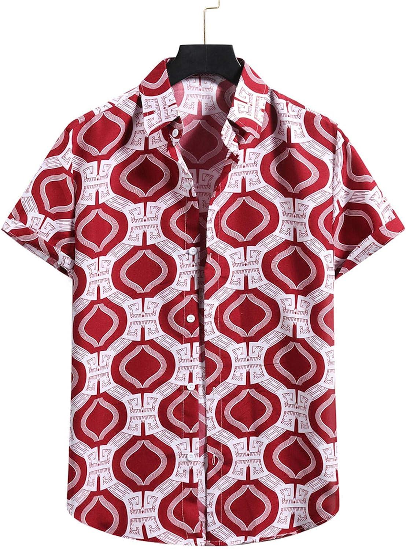 Moxiu Mens Button Down Short Sleeve Cool Summer Slim Fit Hawaiian Casual T-Shirt