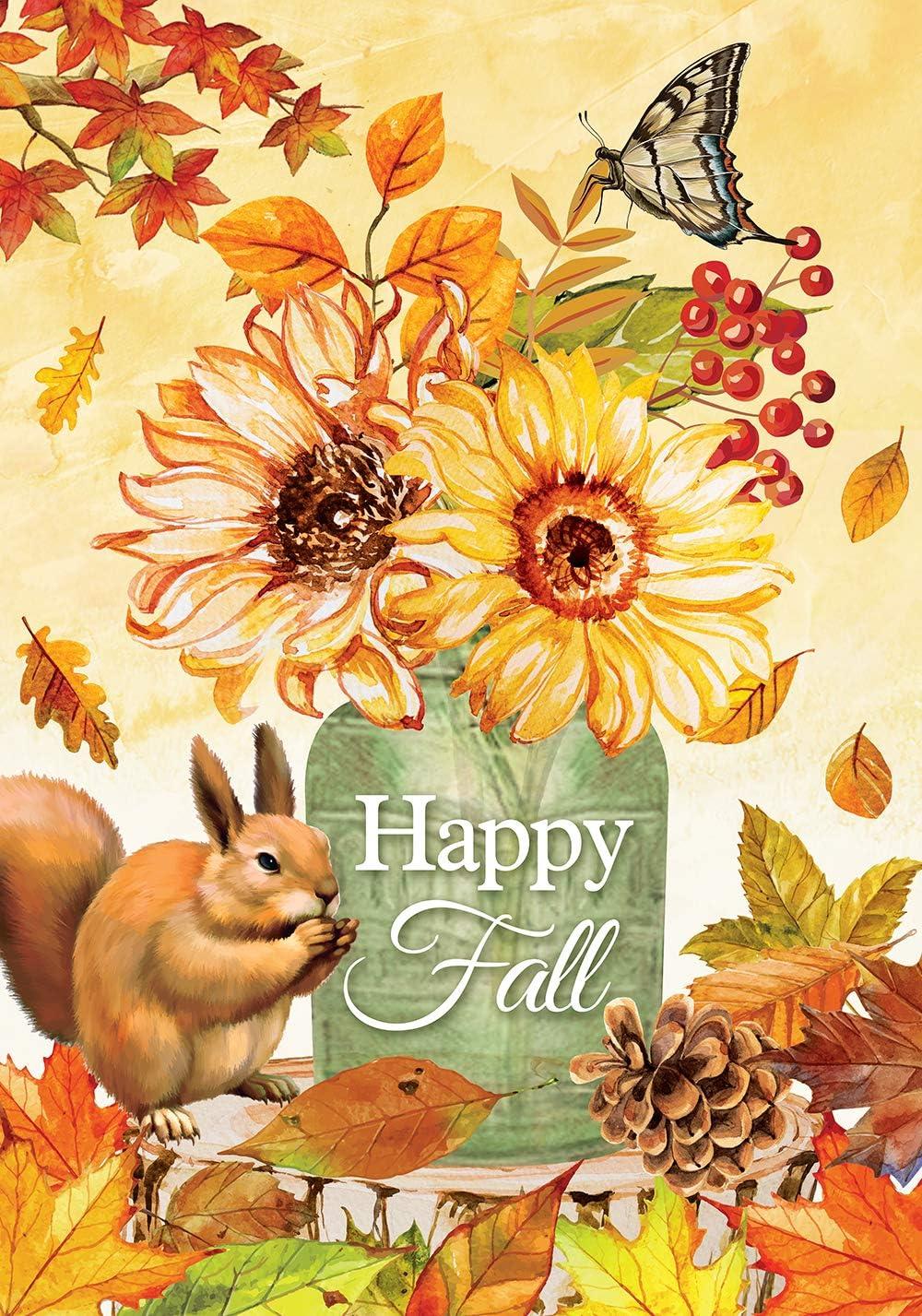 Texupday Happy Fall Sunflower Mason Jar Maple Leaves Decoration Squirrel Garden Flag Outdoor Yard Flag 12