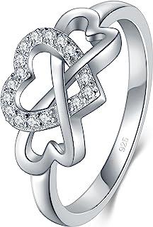 BORUO 925 纯银戒指,高抛光方晶锆石无限和心脏抗锈舒适贴合戒指